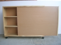 Sloping Bookshelf with Sliding Door